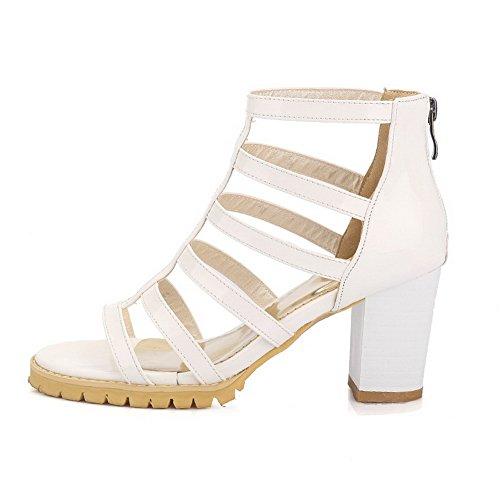 AllhqFashion Damen Reißverschluss Hoher Absatz PU Leder Rein Offener Zehe Sandalen mit Hohem Absatz Weiß