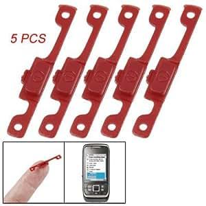 Remplacement 5 plastique rouge Bouton On / Off de l'alimentation Pcs noir pour Nokia E66