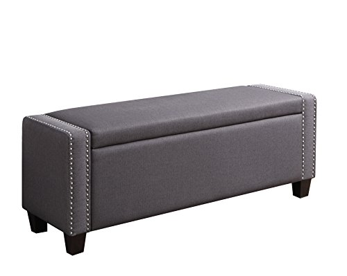 "Pulaski Kenneth Storage Bed Bench, 52.25"" L x 17.0"" W x 19.5"" H, Slate Grey"