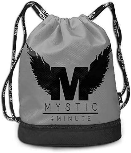 メンズ レディース 兼用4minute Logo (2) ナップサック アウトドア ジムサック 防水仕様 バッグ 巾着袋 スポーツ 収納バッグ 軽量 バッグ 登山 自転車 通学・通勤・運動 ・旅行に最適 アウトドア 収納バッグ