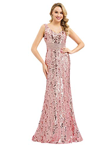 Women V Neck Sequin Long Dress Evening Prom Formal Mermaid Gowns Pink US4