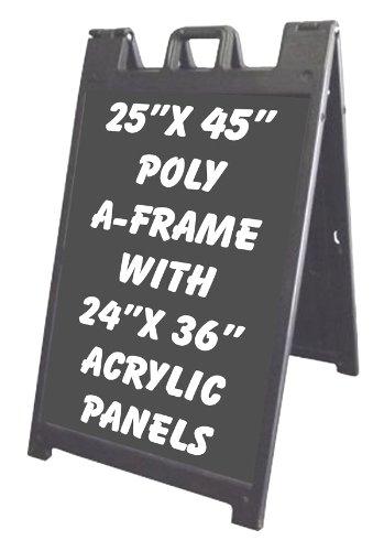 NEOPlex 25'' x 45'' BLACK Plasticade/Signicade Sidewalk Sandwich Board A-frame Sign w/Black Acrylic Insert Panels