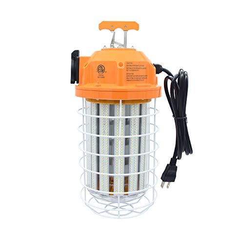 120 Watts LED Temporary Work Light, Job Site Lighting, Daylight White, Wet Location Capable, Portable Hanging Fixture, Outdoor Construction Lamp