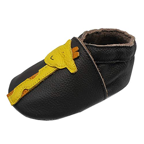 YIHAKIDS Baby Infants Soft Sole Leather Shoes First Walking Moccasins Cartoon Giraffe Boys Girls Crawling Slippers(Dark Brown,0-6 Months) ()