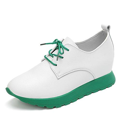 Primavera Alta Zapatos De Cuero,Coreano Suela Plana Finos Zapatos Estilo,Zapatillas De Suela Espesa,Mujeres Casuales Zapatos A