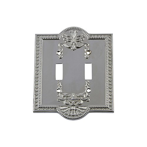 Nostalgic Warehouse 719855 Meadows Switch Plate with Double Toggle, Bright - Toggle Chrome Double