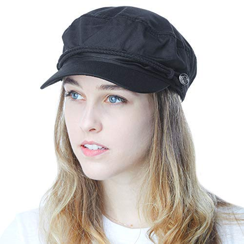 THE HAT DEPOT Black Horn Unisex Cotton Greek Fisherman's Cap (L/XL, Black) -