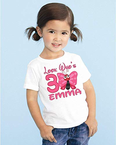 Cute Butterfly Girls Personalized Birthday T Shirt Tee Custom Name Age Gift Look Whos