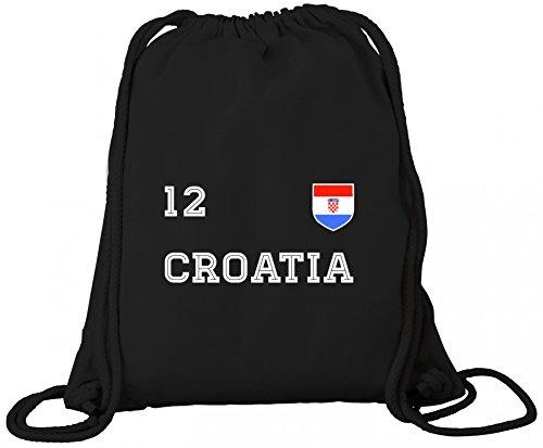 ShirtStreet Hrvatska Croatia Fußball WM Fanfest Gruppen Premium Bio Baumwoll Turnbeutel Rucksack Stanley Stella Trikot Kroatien Black