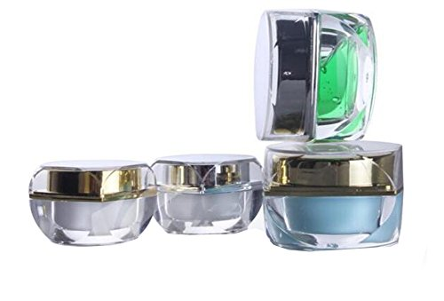3PCS Silver Acrylic Empty Refillable Bottle Jars Pot Face Cr