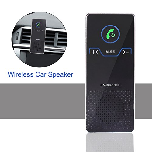 Wireless Car Speaker Bluetooth Car Kit,EFORCAR Wireless Car Bluetooth Speakerphone,Hands Free Bluetooth Receiver With Sun Visor Car Stereo Audio Player For IOS/Android Cell Phone - Black by EFORCAR