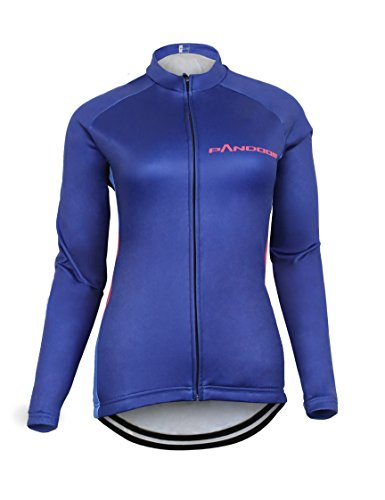 Winter Cycling Jersey - PANDOOM Outdoor Sports Women's Windproof Long Sleeves Winter Fleece Thermal Cycling Bicycle Jersey Jacket Size L