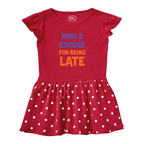 Mom'S Excuse for Being Late Short Sleeve Taped Neck Girl Cotton Toddler Rib Dress School Clothes - Red, 5/6T