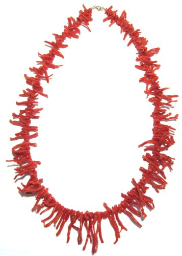 Branch Coral Necklace, Natural, Beautiful Medium Red, 20 Inches, Mediterranean Coral, Italian