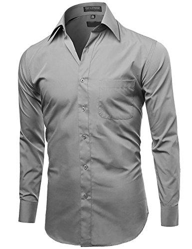 Omega Italy Men's Long Sleeve Dress Shirt Solid Color Regular Fit 25 Colors