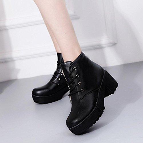 Sonnena Women's Boots Punk Rough Heel Winter Boots Warm Ankle Boots Warm Winter Shoes UK Size Black 8Jet09Q9