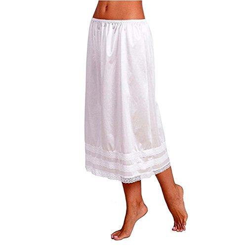Women's Solid Smooth Lace Trim Half Skirt Slip UnderskirtL-XXXL (L, White)