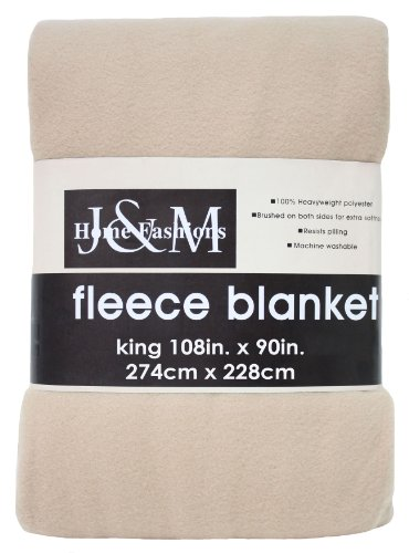 "Luxury Solid Fleece Blanket Throw, King 108x90"", Ultra Soft"