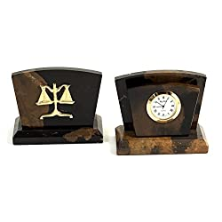Desk Accessories - Marble Letter Rack and Desktop Clock with Legal Scales of Justice Emblem - Legal Office Desk Accessories
