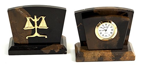 (Desk Accessories - Marble Letter Rack and Desktop Clock with Legal Scales of Justice Emblem - Legal Office Desk)