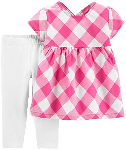 Carter's Girls' 2-Piece Top and Capri Legging Sets (White/Pink/Gingham, 2T)