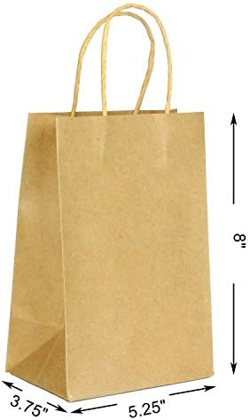 """100 Christmas Kraft Paper Bags, Brown Gift Bags with Handles Bulk for Christmas Gift Bags, DIY Party Bags, Christmas Party Favors, Gift Giving 5.25 * 3.75 * 8"""""""