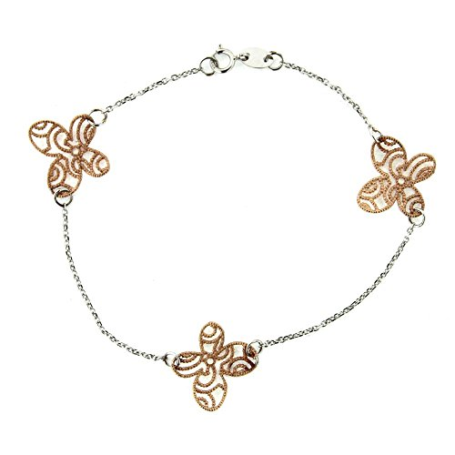 18 KT White Gold and Pink Gold butterfly bracelet by Amalia