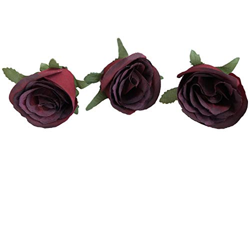 FANFLONA Silk Flowers Bulk Burgundy Rose Heads Flower Buds 50 Artificial Floral Wholesale Wedding Arrangement Florist Supplies (Rose Bud) ()