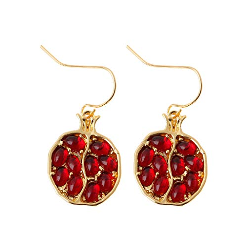YOUSIKE Gold Plated Red Pomegranate Crystal Drop Earrings for Women Fashion