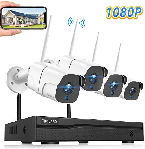 TOGUARD Wireless Security Camera System 8CH 1080P NVR 4Pcs 1080P Outdoor Indoor WiFi Surveillance Cameras with Motion Detection,Email Alert,Night Vision,Remote Monitor,Waterproof,No Hard Drive