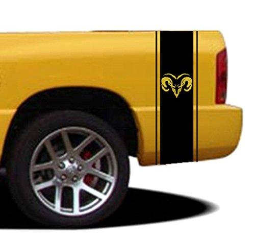 10 Inch Rally Stripes - Clausen's World 10 Inch Ram Head Qty 2 Vinyl Rally Racing Stripes, Fits Dodge Ram Pickup Truck, Pink