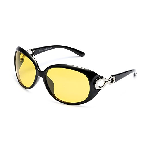 Stylish Oversized Night Vision HD Glasses for Women Driving Safety Nighttime Sunglasses (Black/Yellow)