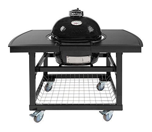 Primo Oval JR 200 Ceramic Smoker Grill On Cart with 2-Piece Island Top (Grill Charcoal Smoker Primo Ceramic)