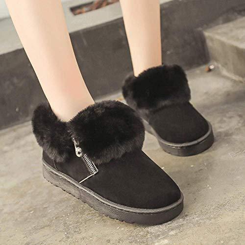 d'hiver femmes chaussures femmes cuir Zhrui bottes douces glissière sport en la une en pour gardez chaud cheville bottes pour au métal avec noires le à fermeture à AqfIIwS5r