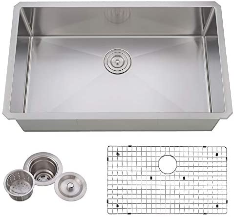 VCCUCINE Commercial Durable 30 Inch Farmhouse Stainless Steel 18 Gauge Undermount Kitchen Sink, Satin Kitchen Sink With Strainers And Dish Grid