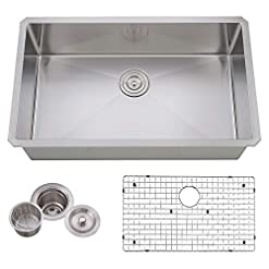 Farmhouse Kitchen VCCUCINE Commercial Durable 30 Inch Farmhouse Stainless Steel 18 Gauge Undermount Kitchen Sink, Satin Kitchen Sink With… farmhouse kitchen sinks