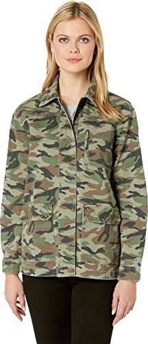 KUT from the Kloth Women's Claudia Studded Camo Jacket Olive X-Large