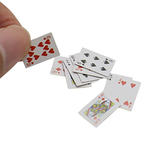 Buorsa 6 Pack 1:12 Miniature Games Poker Playing Cards Mini Playing Cards Poker Playing Cards Mini Decks Cards Decoration Accessories ()