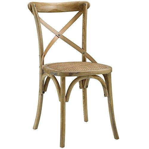 Modway Gear Modern Farmhouse Cross Back Solid Elm Wood Dining Side Chair With Rattan Seat In Natural
