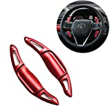 Miniclue Aluminum Steering Wheel Paddle Shifter Extensions Covers For 2018 2019 Toyota Camry (Sport Red Matte Finish)