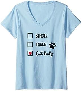 Womens Funny Cat Lady  V-Neck T-shirt | Size S - 5XL