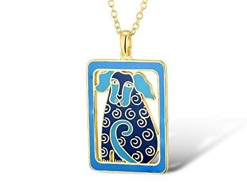 Laurel Burch Dog Tales Blue Cloisonne Pendant w/ Necklace - Ashbury Pendant