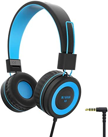 NIVAVA K8 Kids Headphones for Children Boys Girls Teens Wired Foldable Lightweight Stereo On Ear Headset for iPad Cellphones Computer MP3 4 Kindle Airplane School Black Blue