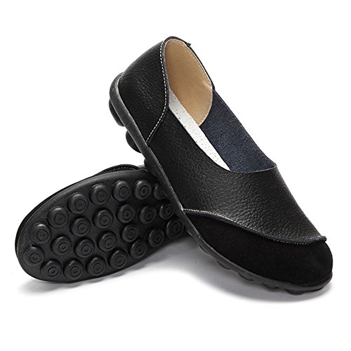 SCIEU Leather Women's Moccasins Loafer Flat Driving Shoes Black paLgMSNF7