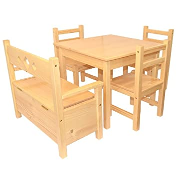 Muebles Para Niños de Pino Sólido Natural Barnizado Conjunto de ...