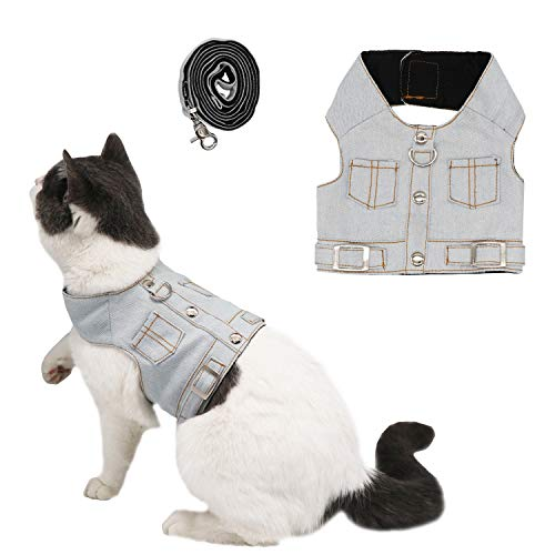 Ruri's Cat Jeans Jacket Harness Vest with Matching Lead Leash Set (XS) ()