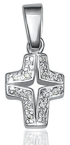 Women's Sterling Silver .925 Small Cross Pendant with Round Cubic Zirconia (CZ) Stones, Platinum Plated