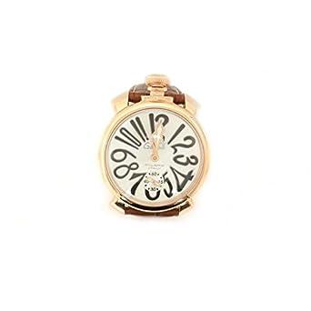 Uhr Gaga 'Herren 501106s Quarz (Batterie) Stahl Quandrante weiß Armband Leder