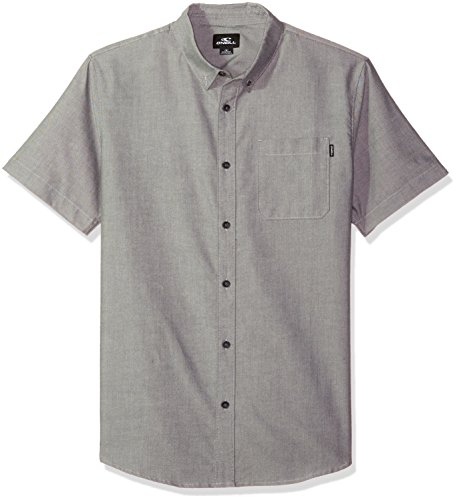 O'Neill Men's Banks Short Sleeve Woven Shirt, Black, (Button Down Stretch Woven Shirt)