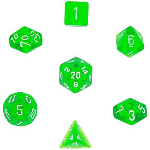 Polyhedral 7-Die Translucent Chessex Dice Set - Green